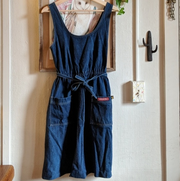 Vintage Dresses & Skirts - Vintage 80's denim jumper dress
